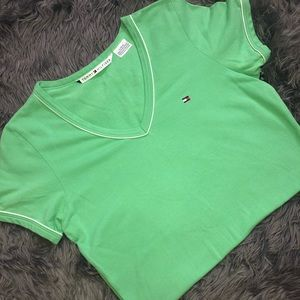 Tommy Hilfiger green v neck shirt